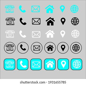Contact Information Icon Collection For Business Card And Flyers, Posters, Banners