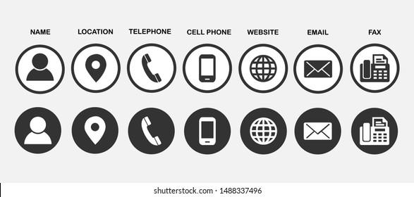 Contact information icons for business card on grey background