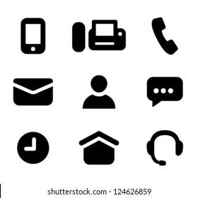 Contact information signs: mobile phone, fax, telephone, email, person, instant messenger, time of work, business hours, address, hotline. Designed specifically for small sizes