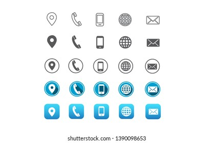 contact information web icon in vector format