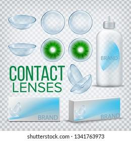 Contact Lenses Branding Design Mockup Vector. Myopia Care. Eye Lens. Medical Product. Soft Optical Glass. Healthy Vision. Package. Shop Sale Promotion. 3D Realistic Illustration