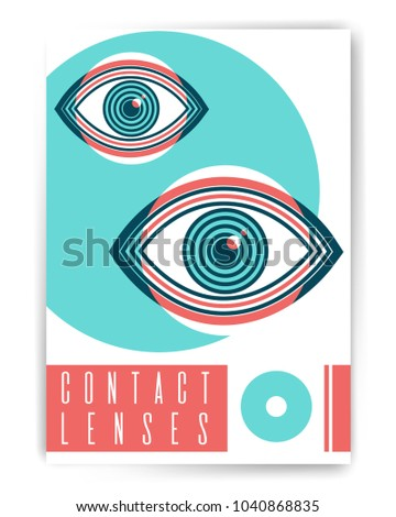 contact lenses ophthalmology abstract poster design stock vector