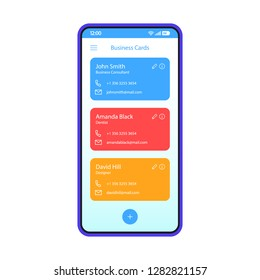Contact list smartphone interface vector template. Business cards scanner. Phonebook. Mobile app interface design layout. Phone book screen. Flat UI for application. Phone display