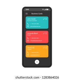 Contact list smartphone interface vector template. Business cards scanner. Phonebook. Mobile app interface design layout. Phone book screen. Flat UI for application. Phone display with useful contacts