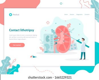 Contact lithotripsy. Surgery to remove kidney stones. Landing page design template. Medical flat vector illustration.