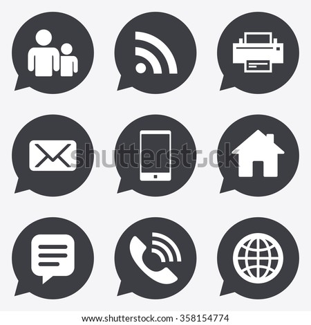 Contact Mail Icons Communication Signs Email Stock Vector Royalty