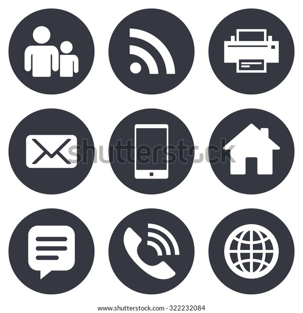 Contact Mail Icons Communication Signs Email Stock Vector (Royalty