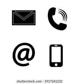 Contact monochrome icons set - envelope, mobile, phone, mail