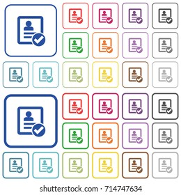 Contact ok color flat icons in rounded square frames. Thin and thick versions included.