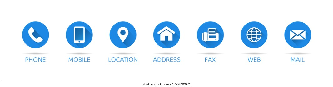 Contact shadow. Set of communication icons set modern button. Vector
