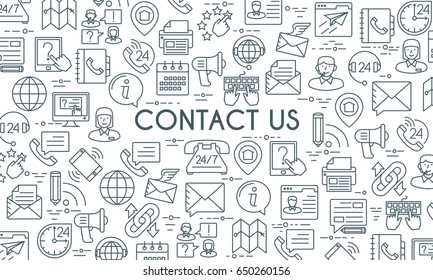Contact us banner. Design template with thin line icons on theme customer service and support. Vector illustration