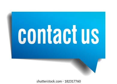 Contact us blue 3d realistic paper speech bubble isolated on white