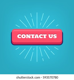 Contact us button with rays for customer support inquiry hotline. Vector.