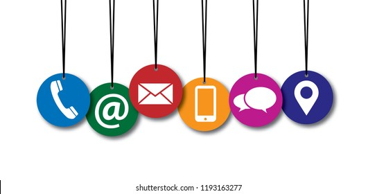Contact us or call us symbols Social Media network icons for business communication Marketing chatting or messenger, mail, blog, chat, talk. Online or offline day. Service icon.