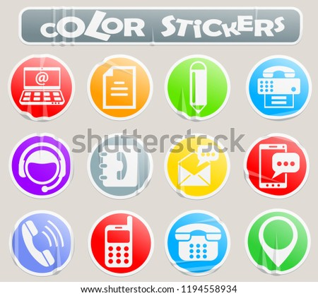 contact us color stickers stock vector royalty free 1194558934