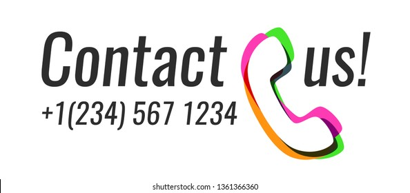 Contact us - Colorful style icon of Phone and call to action. Vector illustrations isolated on white background in EPS10.