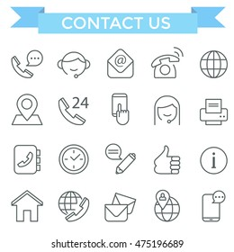 Contact us and communication icons, thin line, flat design