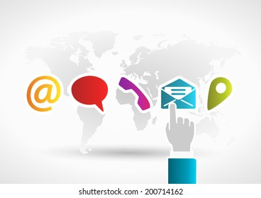 Contact us concept with hand touching mail icon on world background