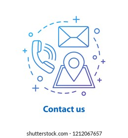 Contact us concept icon. Information center idea thin line illustration. Helpdesk. Support service, contact, email, location. Vector isolated outline drawing
