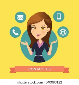 Contact us and Customer service With Woman Character  Vector Illustration.