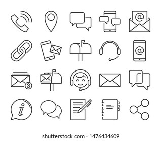 Contact Us icon. Contact and communication line icons set. Vector illustration.