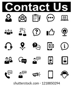 Contact Us Icon Set - 1 (Black Series)