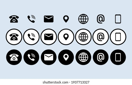 Contact us icon set. Communication symbol for your web site design, logo, app, UI. Contact us button. Mail, phone, globe, address, com, email. Vector EPS10. Isolated on background