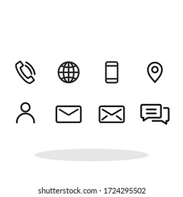 Contact us icon set in flat style. Communication symbol for your web site design, logo, app, UI Vector EPS 10.