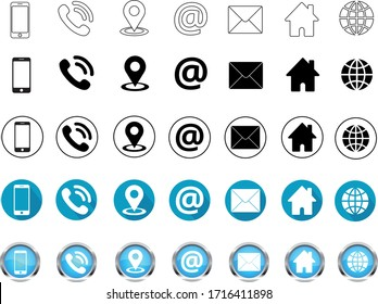 Contact us Icon trendy flat style. Simple and modern vector business icons set on white background. Phone, smartphone, email, location, house, globe, web, address, chat, message signs.