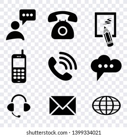 contact us icon vector isolated on transparent background, communucation computer and mobile phone icons set, sign smart telephone technology, commumication contact icons vector set