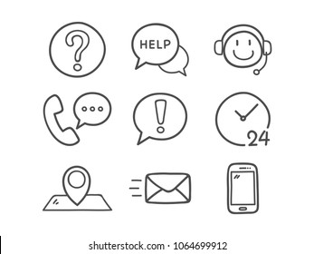 Contact Us Icons. Hand Drawn Icon Set.