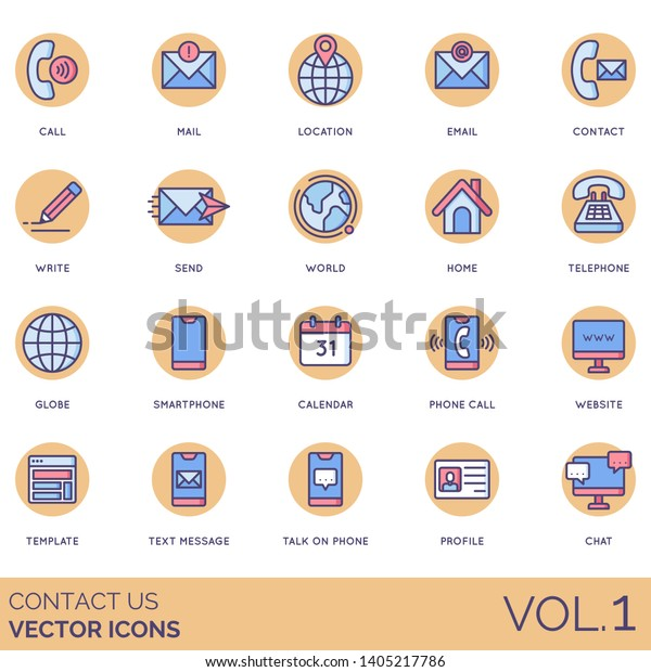 Contact Us Icons Including Call Mail Stock Vector (Royalty
