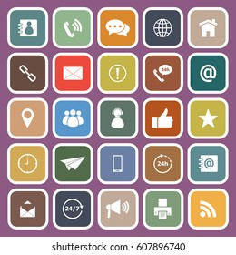 Contact us icons on purple background, stock vector