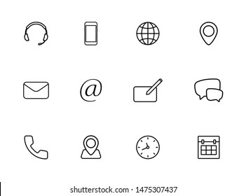 Contact us icons. Phone, smartphone, email, location, house, globe, address, chat. Icons Business Card contact information icons