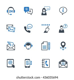 Contact Us Icons Set 6 - Blue Series. Set of icons representing customer assistance, customer service and support.