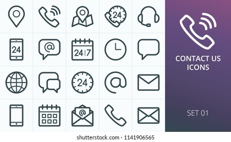 Contact us icons set. Set of business contact phone call, map maker, open email envelope, calendar, call us, call center, support, gps map location vector line icons.