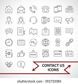 Contact us icons set isolated on white background.