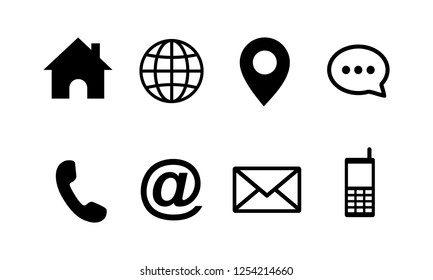 Contact us icons set, web icon set symbol vector. symbol for web site Computer and mobile vector.
