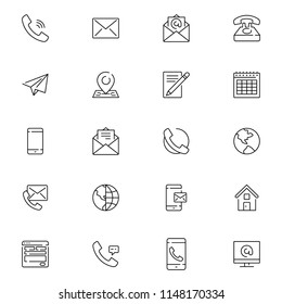 Contact us icons. Simple flat vector icons set on white background. Thin lines web icons set - Contact us. Editable stroke.