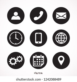 Contact us icons. Simple flat vector icons set on white background - stock vector