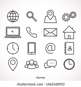 Contact us icons. Simple flat vector icons set on white background set line
