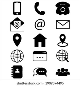 Contact us icons. Simple vector icons set on white background. Phone, smartphone, email, location, home, globe, address, chat.