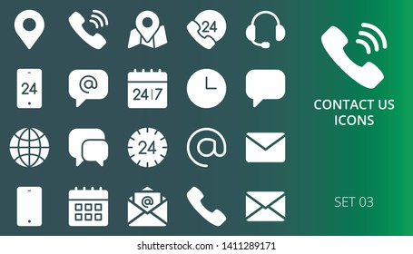 Contact us icons solid dark set. Set of contacts, phone, call center, call us now icon, address, email, message, working hours solid icons