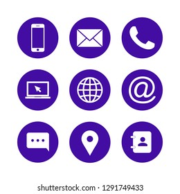 Contact us icons. Web icon set. phone, website, mail, time, call, home, printer, laptop, calendar, chat, edit, pin, map, person,