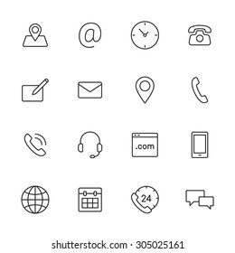 Contact us line icons for web and mobile app.