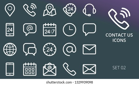 Contact us linear icons set. Set of telephone, contact phone, call us, adress pin marker, date planner, 24 7 hours service, contacts outline icons