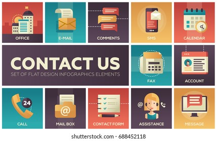 Contact Us - modern vector flat design icons set with communication symbols with gradient colors. Office, e-mail, comments, sms, message, account, fax, form, call, assistance, mail box calendar