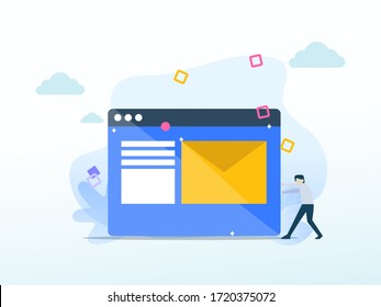 Contact us. Online support concept for web landing page template, banner, and presentation
