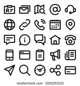 Contact us related icons for web. Online support simple icon set. Vector illustration.