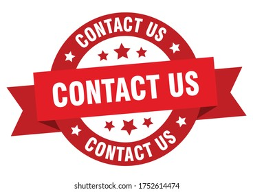 contact us ribbon. contact us round red sign. red paper contact us label